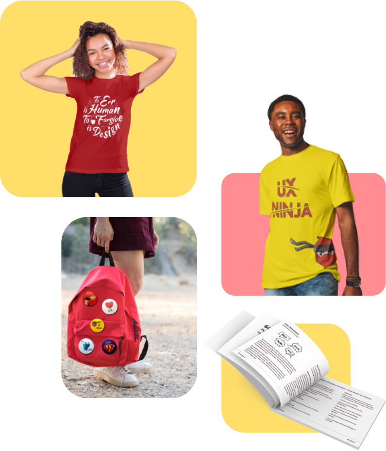 Goodies like t shirts, badges, UX journals by Designerrs